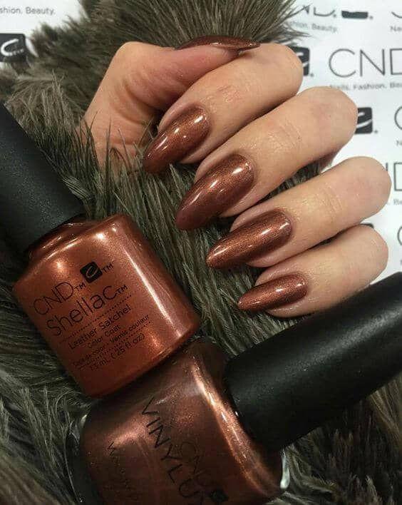 Shimmery Copper Bronze Stiletto Nails Shellac Nail Designs Shellac Nail Colors Cnd Shellac Nails