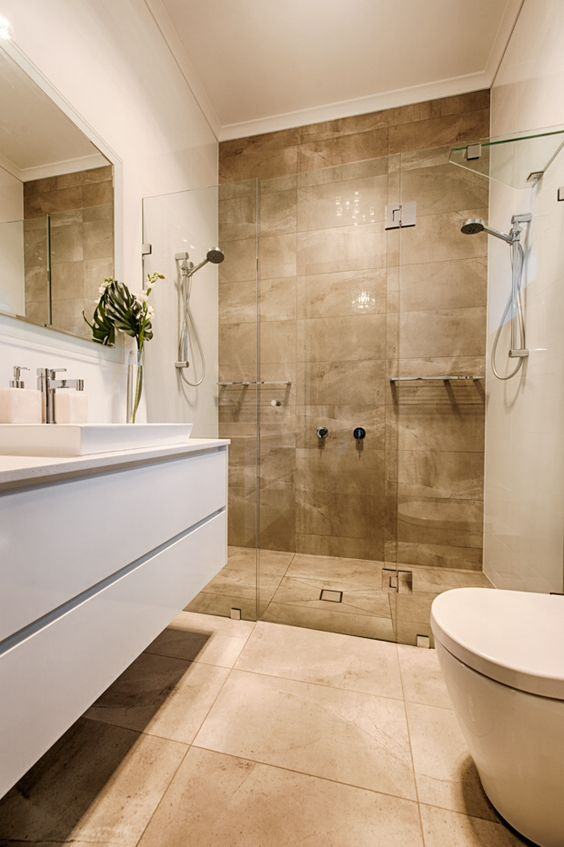 Evandale Ensuite Bathroom Neutral Tones Are Simple Yet Elegant Deluxe Tiles Deluxebts Work