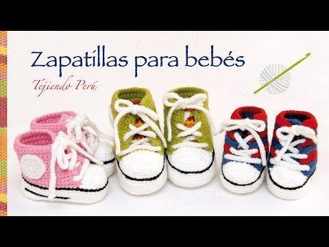 Zapatillas o sneakers para bebés tejidas a crochet... 2 tallas!