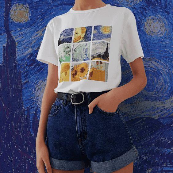 Van Gogh Paintings Grid Tee - Cosmique Studio | Aesthetic Clothing