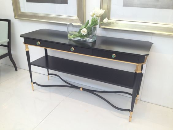 High Point Market Spring 2012-Stunning Console with Malachite Drawer Hardware by Bolier....I WANT THIS!!!