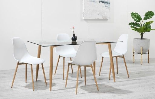 Orson Extendable Dining Set 4 Seats Oak Dining Sets Glass