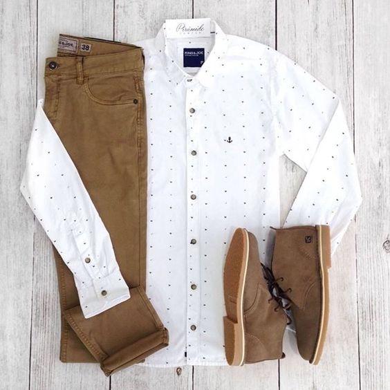 conjunto marrón formal: