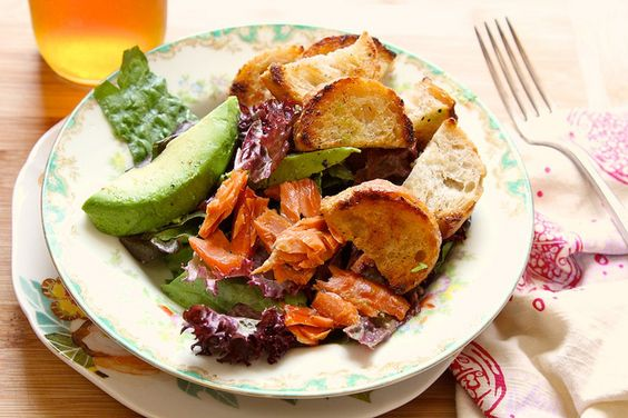 Buttered Crouton Salad with avocado and smoked salmon - we should all ...
