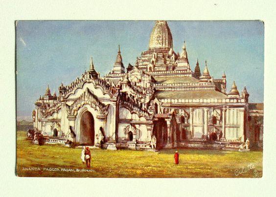 Ananda Pagoda Burmah Old Vintage Postcard by BestofbothWorlds, $7.95