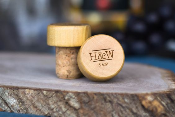Personalized Monogram Wine Corks wedding favors
