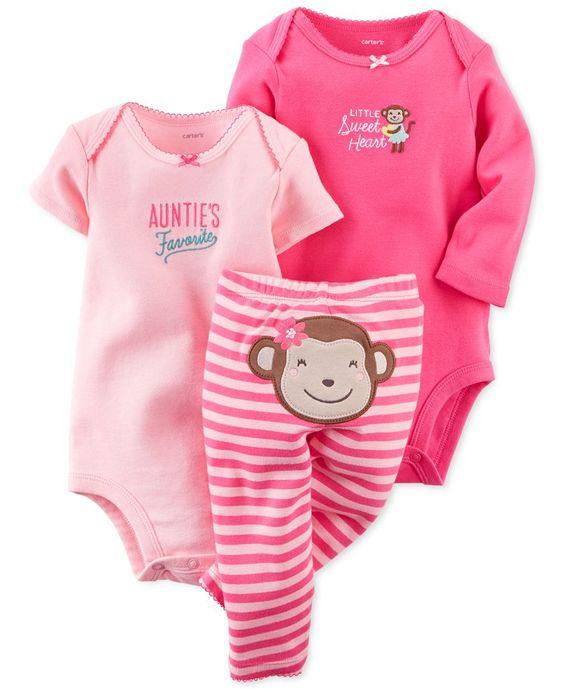 Carter S Baby Girls 3 Piece Monkey Bodysuits Amp Pants Set