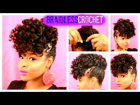 Braidless Crochetusing Jamaican Bounce Protective Style No Cornrows Tutorial Youtube Hair Styles Diy Hairstyles Short Natural Hair Styles