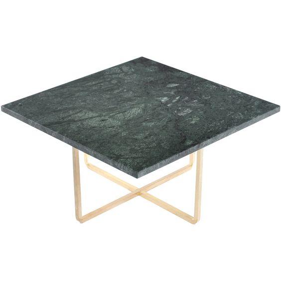 Ninety soffbord 60x60x30 cm, grönmarmor/mässing i gruppen Möbler ...