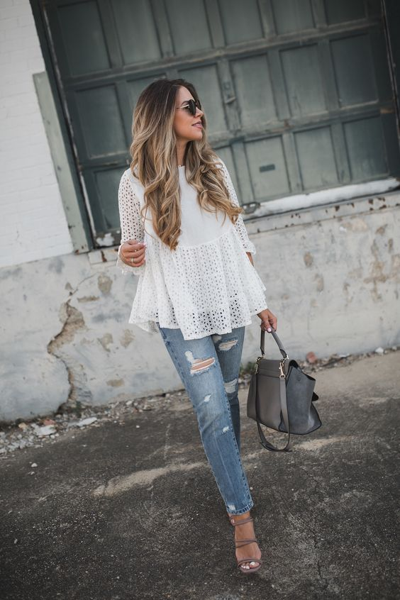 white eyelet blouse and Steve Madden heels