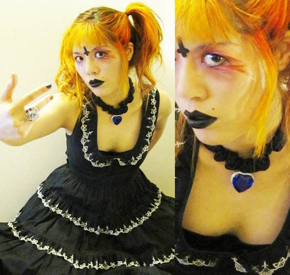 japanese goth girls, orange hair in pigtails,  BLACK GOTH LIPSTICK, EXTREME FAKE EYELASHES, FEATHERED EYELASHES, glittery mineral eye makeup, heart of the ocean Titanic necklace, funny comedy beauty demo, innocent world gothic lolita dress, TOKYO EVIL QUEEN VIDEO! SUGARPILL MAKEUP TUTORIAL, FEATHERED EYELASHES, GOTH BLACK LIPSTICK & MINIONS. JAPANESE tv,