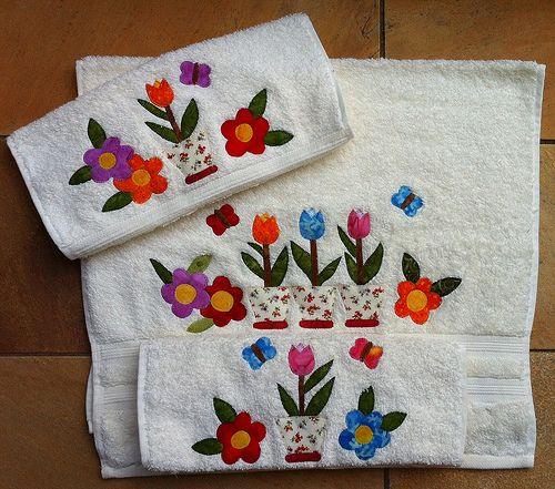 Jogo de toalhas para lavabo toallas patchwork juegos de for Apliques para toallas