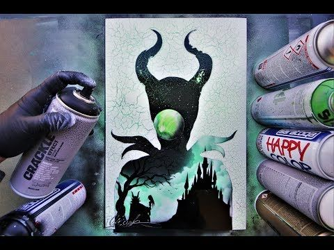 Maleficent Villain And Hero Spray Paint Art By Skech Youtube Spray Paint Artwork Spray Paint Art Art Painting