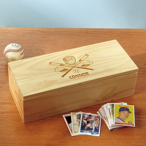 Wooden Baseball Card Storage Box - Crossed Bats