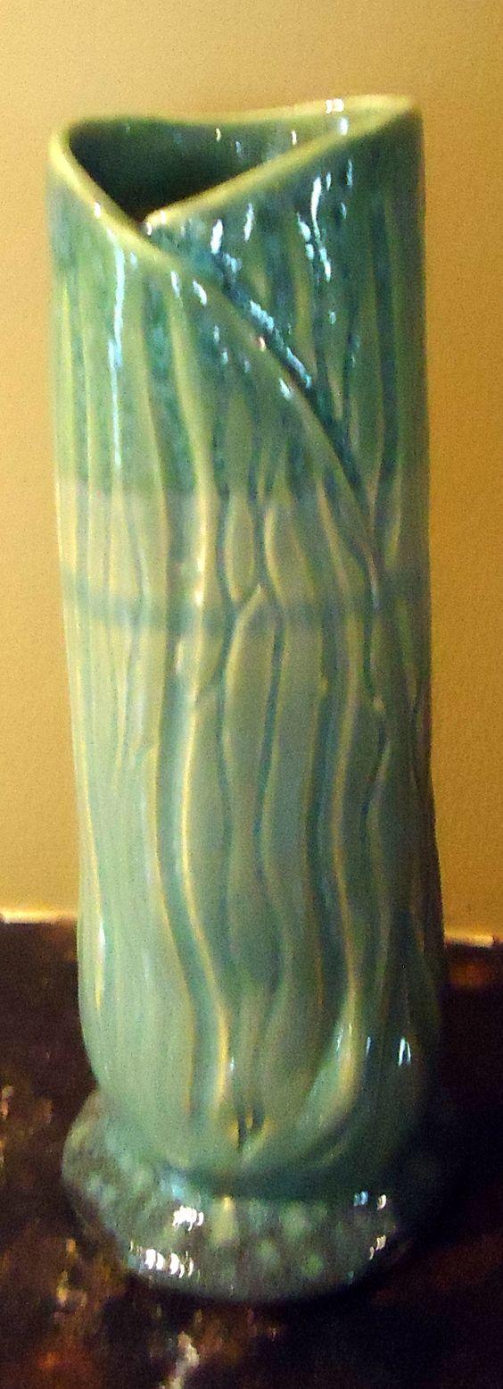 hand-built, carved vase