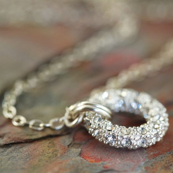 Silver pave o ring necklace with sterling silver chain