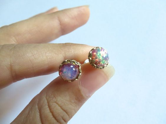 Tiny Fire Opal Glass Stud Post Round Stainless by Azeetadesigns