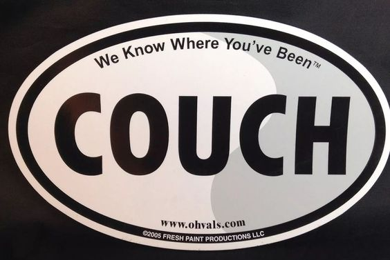 """Car Magnet Couch We Know Where You've BEEN Oval 6 75x4"""" Fresh Paint 
