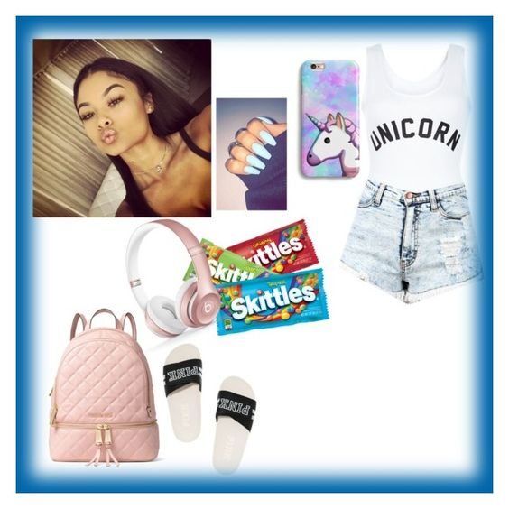 """""""Imani -Unicorn"""" by his-shawty ❤ liked on Polyvore featuring New Look, Victoria's Secret, MICHAEL Michael Kors and Beats by Dr. Dre"""