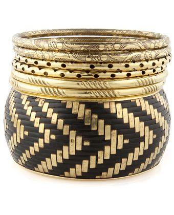 Treasure Trove Gold & Black Bangle Set