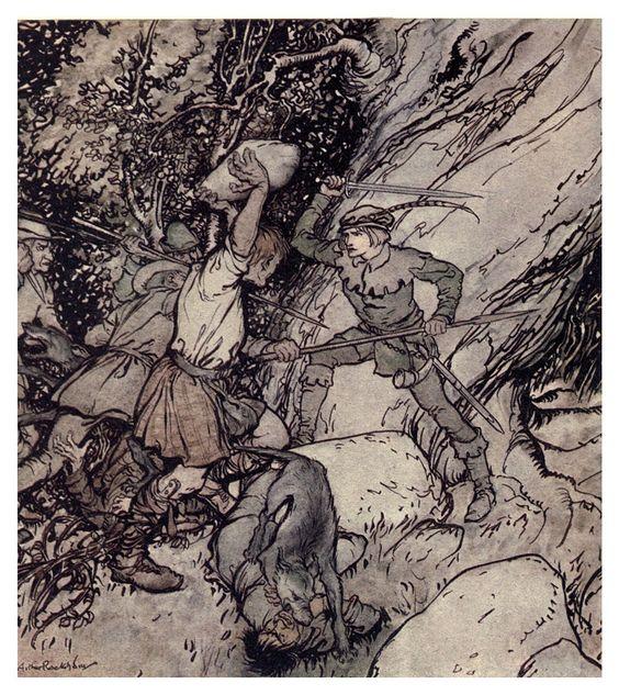 ✽   arthur rackham -  from 'johnnie of cockerslee - some british ballads'  -   1919