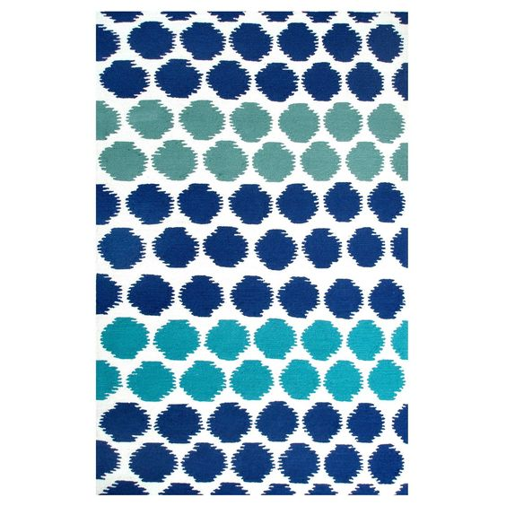 Homefires Indoor Outdoor Hooked Turquoise White Indoor: A Fun Polka Dot Rug In Navy Blue, Turquoise, And Teal