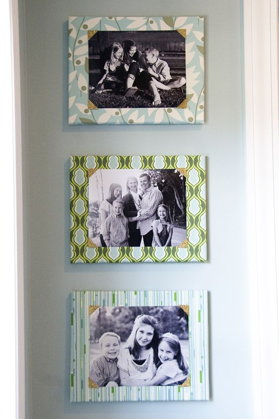 Cover canvas with fabric, add photo corners and a photo! <-- original pin comments. I was think the same could be done with foam board. same decorated frame, less money...