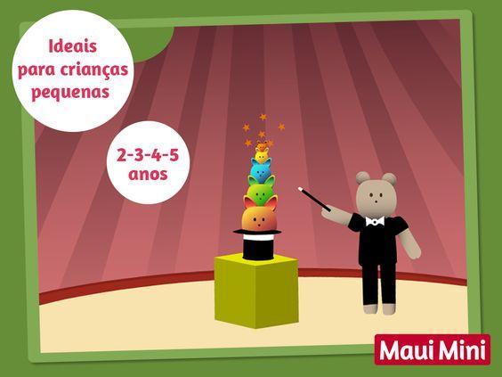 Os jogos deste aplicativo educativo são ideais para crianças pequenas de 2 - 3 - 4 - 5 anos de idade - Maui Mini Jogos.