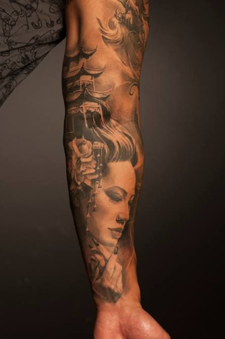 Tattoos and body art geishas and 3d tattoos on pinterest for 3d tattoos sleeves