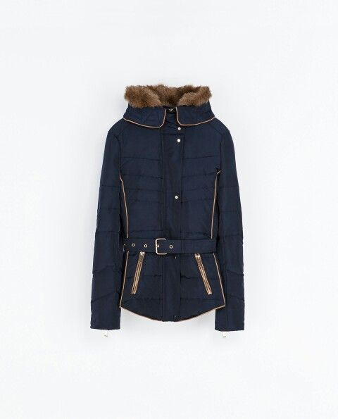 Short Navy Blue Puffer Jacket with Belt from Zara. | My Style