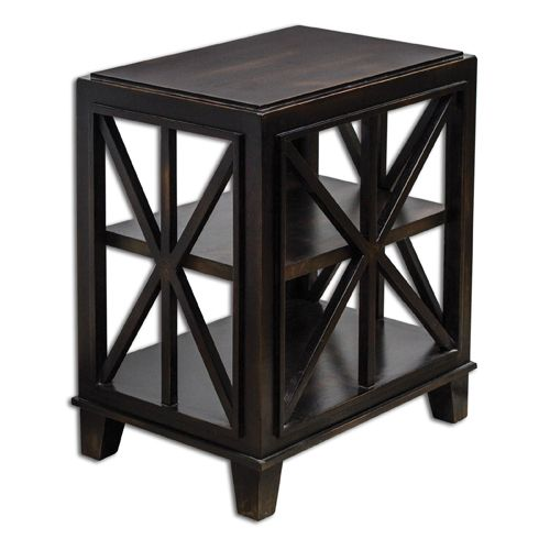 Asadel Mango Wood and Black End Table