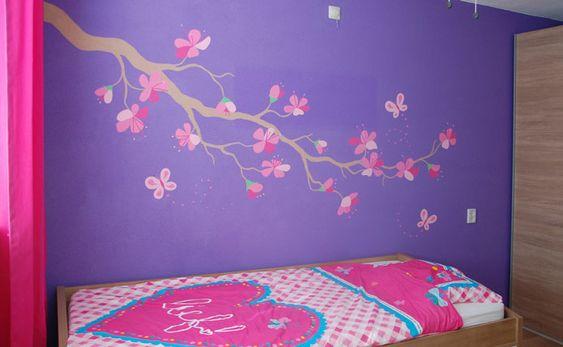 Slaapkamer Paarse Muur : Tak met bloemen muurschildering, roze bloesem ...