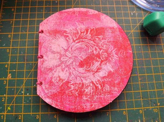 The cover, with the deli paper print.  Gelli Book - Learning a new Skill. Scrappy Sticky Inky Mess.