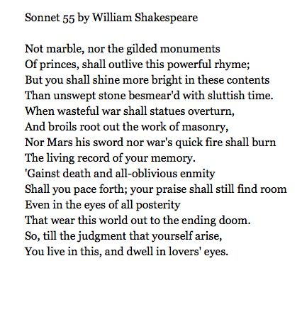 sonnet 55 by william shakespeare essay Sonnet 55: not marble, nor the  nor the gilded monuments analysis william shakespeare  cliffnotes ebook pdf doc file essay summary literary terms analysis.