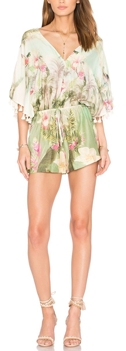 Pretty tropical floral romper