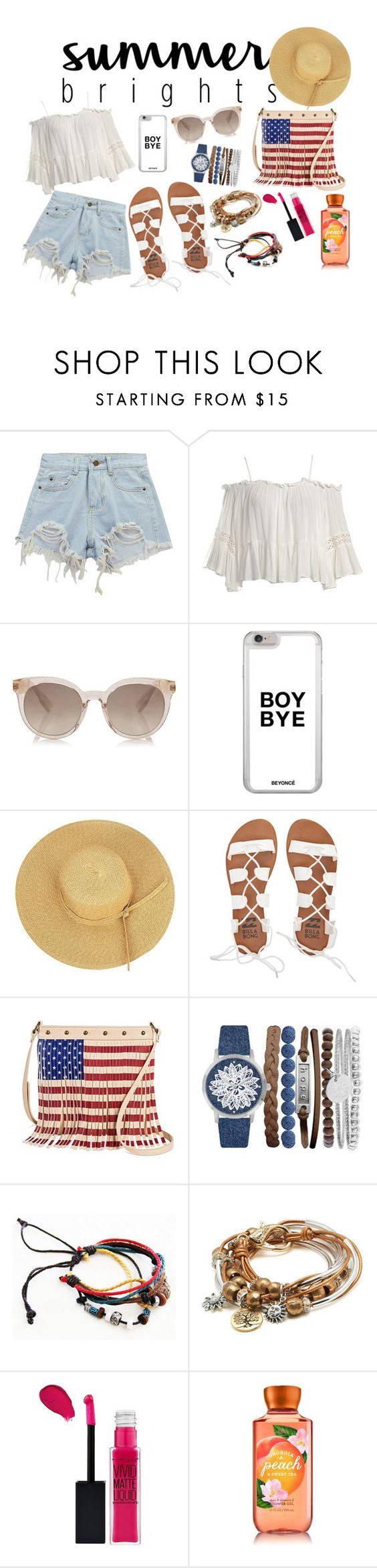 """Summer..!!"" by filmaandry ❤ liked on Polyvore featuring Chicnova Fashion, Sans Souci, Billabong, TWIG & ARROW, Jessica Carlyle, Lizzy James and Maybelline"