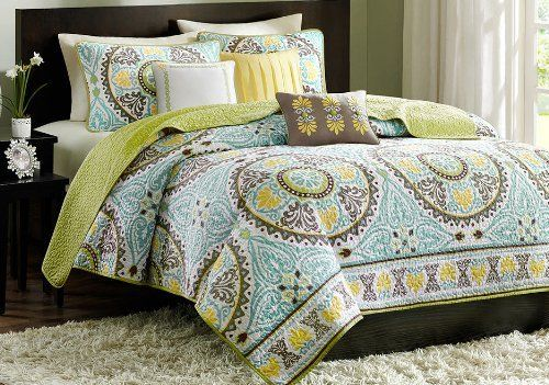 Green, Turquoise, Yellow & Brown Full / Queen Quilt, Shams & Toss Pillows (6 Piece Bed In A Bag), http://www.amazon.com/dp/B00K956GVI/ref=cm_sw_r_pi_awdm_Y9k9tb144J2S7