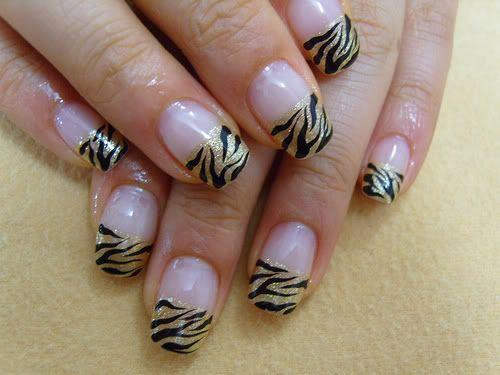 Cute zebra french manicure