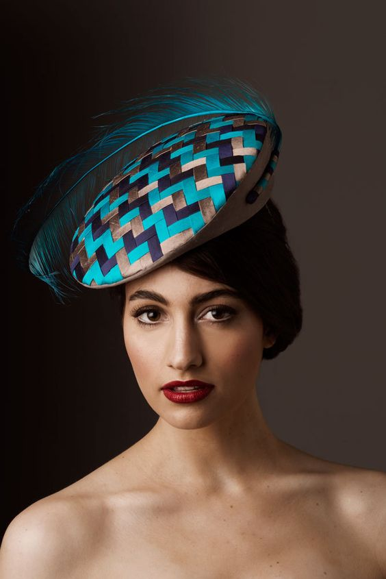 Spring Racing Blue & Silver Fashion Hat. от AmandaDudleyMilliner