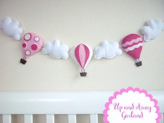 Aire caliente globo Garland - banderines - Banner - rosa chicle, blanco como la nieve y Hot Pink - movible
