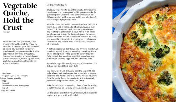 Crustless Vegetable Quiche - Good & Cheap - Leanne Brown