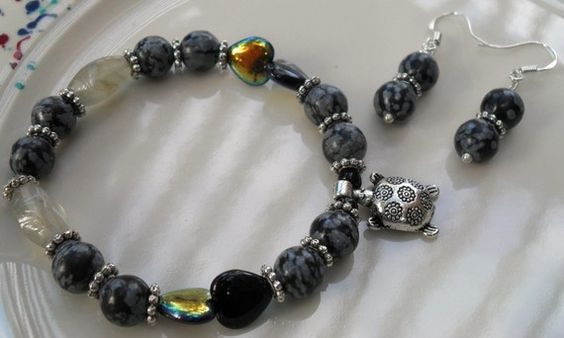 Snowflake Obsidian Silver Turtle and Hearts by HeartStringsJewelry, $40.00