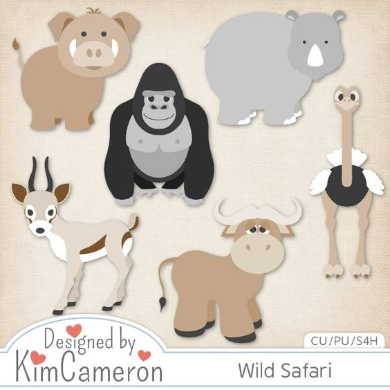 Wild Zoo Safari Animals - Layered PSD Templates with PNG by Kim Cameron for Digital Scrapbooking #CUDigitals