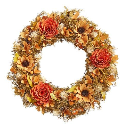 20 Wood Curl Wreath With Sunflowers