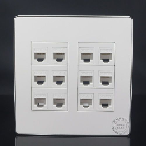 120 120mm 12 Ports Cat5e Rj45 Network Lan Wall Outlet Panel Faceplate Wall Outlets Rj45 Outlet Adapter