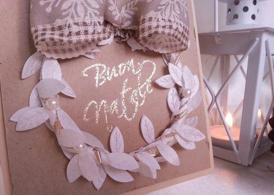 biglietto buon natale oro glitter ghirlanda foglie avorio e perle con fiocco : Biglietti di chiara-scrapchic