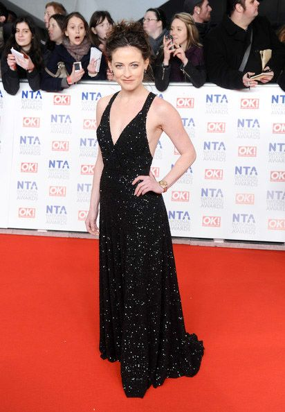 Lara Pulver in our floor length dress with flowing bias-cut skirt and train.