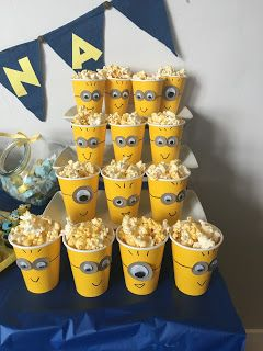 Minion Party Popcorn Cups And Minions On Pinterest