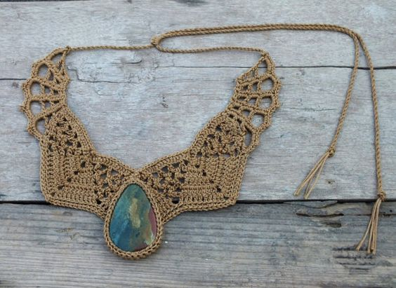 This necklace was handmade crochet by me with bronze thread and set with Jasper gemstone. <3 <3 <3 by AmorArt on Etsy