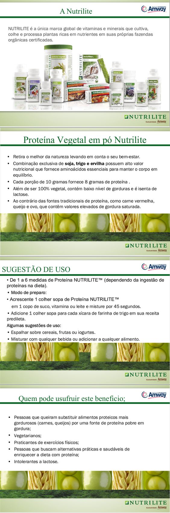 PROTEINA VEGETAL | Nutrilite  http://www.amway.com.br/